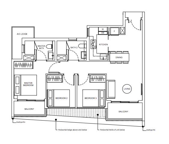 Forest Woods Floor Plan 3 Bedroom C4 Temasekhome