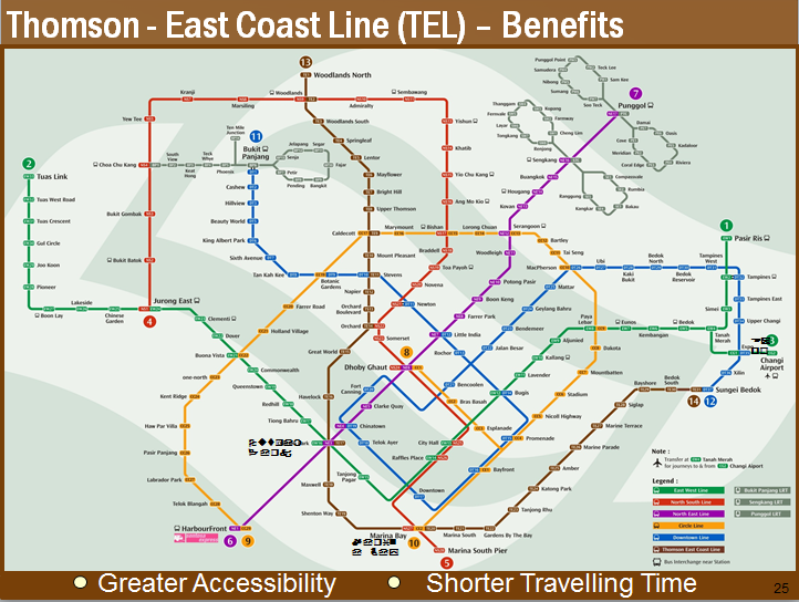 New updated MRT map with Thomson-East Coast Line, Downtown Line, and existing North, South, East and West MRT line